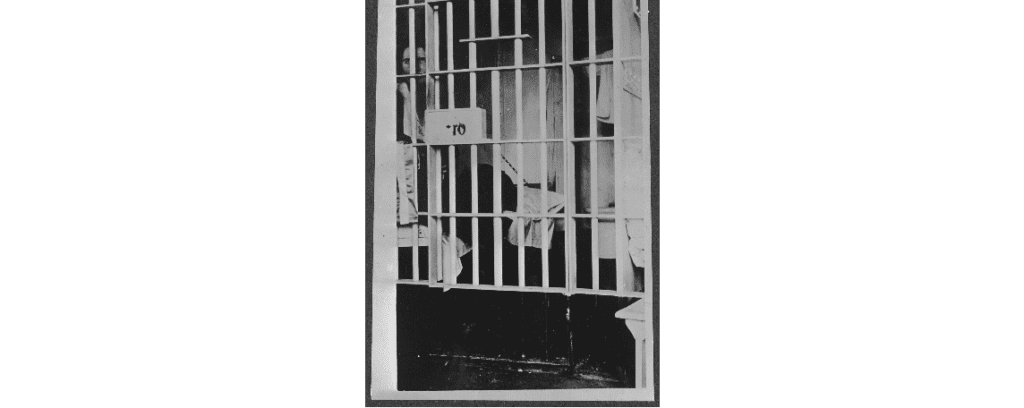 Vida Milholland sits in her prison cell